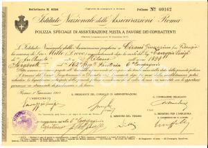 1918 ROMA Istituto Nazionale Assicurazioni d'ITALIA Polizza mista combattenti