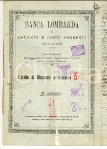 1924 BANCA LOMBARDA Libretto di risparmio vedova Giuseppina CIRANI *RINUNCIATO