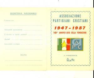 1957 MILITELLO (CT) Associazione Partigiani Cristiani - Tessera personale