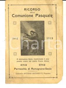 1915 ROMAGNANO SESIA Ricordo della Comunione Pasquale - Can. ANTONETTI