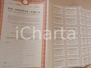 1975 ca MILANO Tessuti stampati DE ANGELI-FRUA certificato azionario 29 CEDOLE