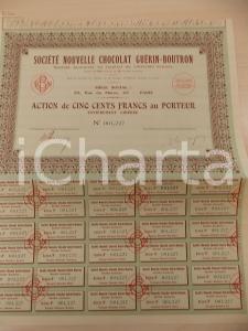 1934 PARIS Société Nouvelle Chocolat GUERIN-BOUTRON Action cinq cents francs
