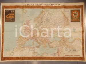 1940 ca EUROPA Carta fisico-politica *Pubblicitaria OLIO CARLI ONEGLIA 70x100