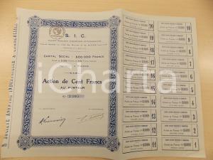 1920 ca PARIS Société Anonyme Industrielle Commerciale S.I.C. Action Cent Francs