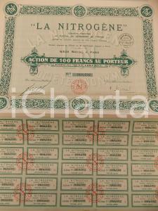 1928 PARIS Société Anonyme LA NITROGENE Action 100 francs au porteur Certificato