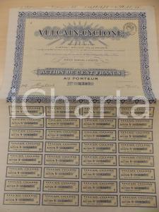 1935 ca PARIS Société Anonyme VULCAIN-CYCLONE Action de cent francs *Certificato