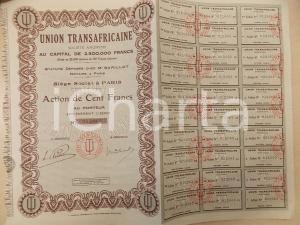 1931 PARIS Société Anonyme UNION TRANSAFRICAINE Action de Cent Francs