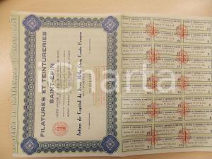 1959 FRANCE Filatures et Teintureries SAINT-EPIN Action 2500 Francs au porteur
