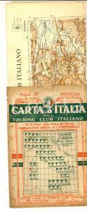 1912 TOURING CLUB ITALIANO Carta d'Italia - ORISTANO Foglio n° 39 40x50 cm