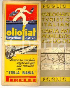 1940 ca CONSOCIAZIONE TURISTICA ITALIANA Carta automobilistica Foglio AOSTA-COMO