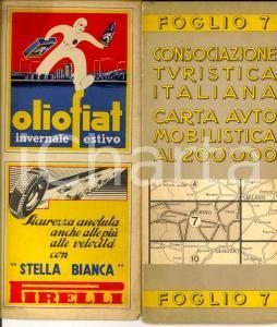 1940 ca CONSOCIAZIONE TURISTICA ITALIANA Carta automobilistica Foglio TORINO