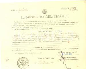 1920 MINISTERO DEL TESORO ROMA Pensione di guerra Erminia NOVELLI ved. BAGLIANI