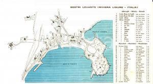1950 ca SESTRI LEVANTE (GE) Mappa turistica con alberghi e pensioni 35x20 cm