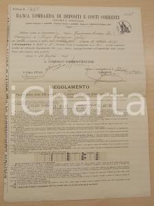 1917 BANCA LOMBARDA DI DEPOSITI Abbonamento a cassetta valori Giuseppina CIRANI
