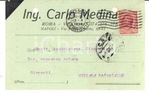 1914 ROMA Ditta ing. Carlo MEDINA - Cartolina per ordine MINIERE PASSATELLO