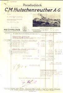 1953 HOHENBERG A. D. EGER Proforma HUTSCHENREUTHER A.-G. Porzellanfabrik