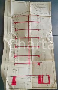 1928 SAVONA via BOSELLI Ing. ASTENGO Casa BOZZANO Sezione trasversale 40x75 cm