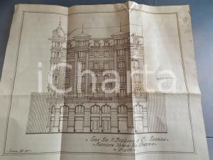 1926 SAVONA Ing. ASTENGO Casa BOZZANO Facciata su via VEGERIO Progetto 53x45 cm