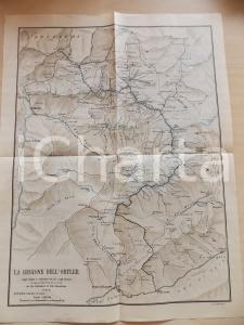1915 ca TRENTINO Regione dell'ORTLER Mappa con confine austriaco 30x40 cm