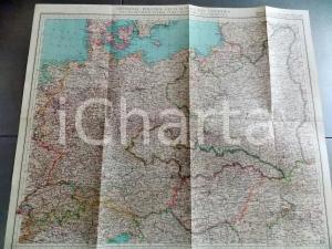 1939 CTI Carta geografica GERMANIA, POLONIA, CECOSLOVACCHIA e UNGHERIA 55x47 cm