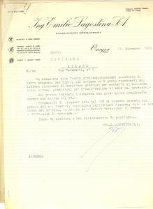 1950 OMEGNA Ing. Emilio LAGOSTINA Lettera su esportazione posateria di ferro