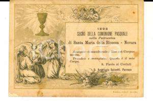 1898 NOVARA Parrocchia SANTA MARIA DELLA BICOCCA Santino Comunione Pasquale