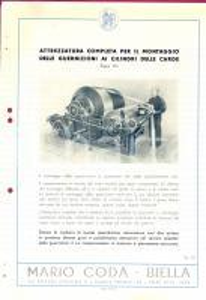 1940 ca BIELLA Ditta Mario CODA - Guarnizioni cilindri *Scheda PUBBLICITARIA