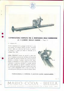 1940 ca BIELLA Ditta Mario CODA Guarnizioni cilindri carde *Scheda PUBBLICITARIA