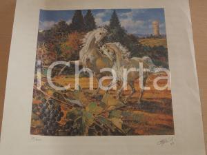 1987 S. CRESPI Coppia di cavalli *Litografia 25/200 35x35 cm FIRMATA
