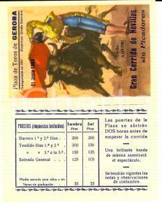 1964 GERONA Gran Corrida de NOVILLOS - Don Manuel JORGE *Biglietto