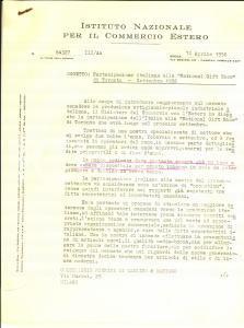 1956 ROMA COMMERCIO ESTERO Partecipazione alla