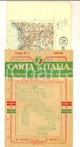 1910 ca TOURING CLUB ITALIANO Carta d'Italia - AOSTA Foglio n° 1 40x50 cm
