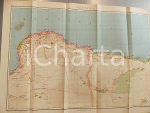 1925 ca CIRENAICA ITALIANA Mappa a colori ed. VALLARDI DANNEGGIATA 70x48 cm