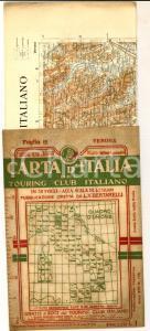 1908 TOURING CLUB ITALIANO Carta d'Italia - VERONA Foglio n° 12 40x50 cm