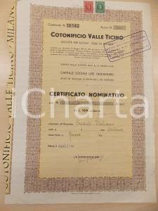 1960 MILANO Cotonificio VALLE TICINO spa *Certificato nominativo 2000 azioni