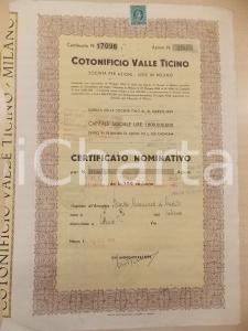 1962 MILANO Cotonificio VALLE TICINO spa *Certificato nominativo 3000 azioni