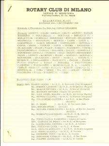 1958 MILANO ROTARY CLUB Bollettino n° 571 Riunione ricordo Mario ALBERTI