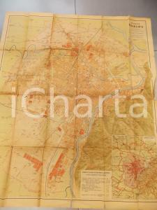 1940 ca TORINO Pianta della città * Ed. PARAVIA 65x75 cm A COLORI