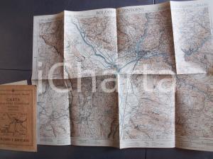 1930 ca TCI Carta zone turistiche d'Italia - BOLZANO e dintorni *Mappa 50x20 cm