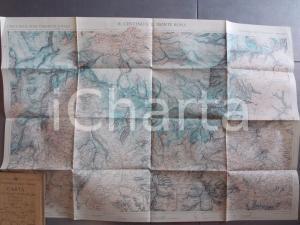 1930 ca TCI Carta zone turistiche d'Italia - CERVINO e MONTE ROSA Mappa 80x50