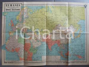 1941 Carta geografica EURASIA - Edizione OPERA SALESIANA MILANO 60x50 cm