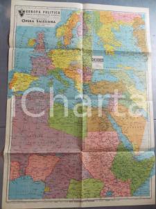1940 Carta EUROPA e AFRICA settentrionale - Colonie *Ed. OPERA SALESIANA 50x70