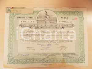 1918 MILANO Istituto Nazionale Assicurazioni - Polizza per Antonio NIGRETTI