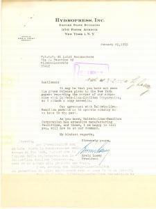 1955 NEW YORK Lettera HYDROPRESS inc. su fusione BALDWIN-LIMA-HAMILTON