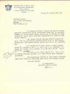 1943 WW2 MILANO Lettera pittore Remo TACCANI dopo bombardamento della Permanente