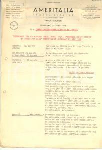 1939 MILANO AMERITALIA Itinerario viaggio per Esposizione Mondiale New York