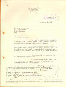1957 NEW YORK Lettera Erwin LOEWY per la promozione di un'azienda *Autografo