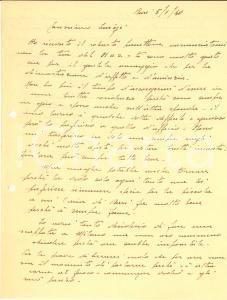 1940 WW2 BARI Lettera ten. col. Mario ALIANI tra ufficio e aviazione *Autografo