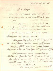 1940 WW2 BARI Lettera ten. col. Mario ALIANI per testimonianza *Autografo