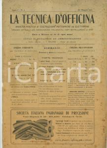 1911 LA TECNICA D'OFFICINA Motori Diesel - Pompa Humphrey - Rivista anno I n°1
